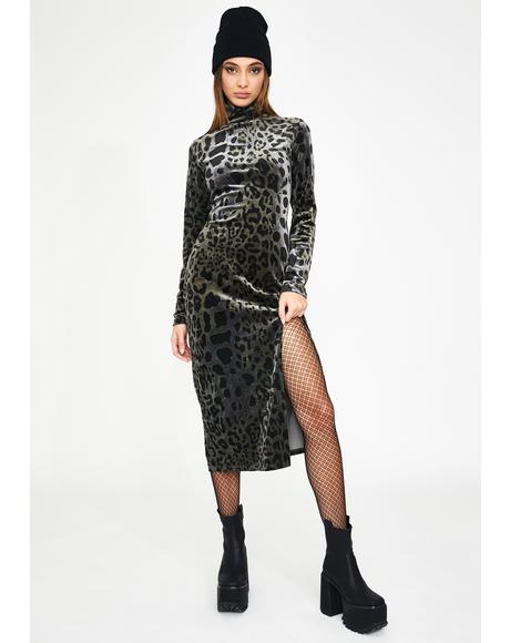 Grey Leopard Slim Midi Dress