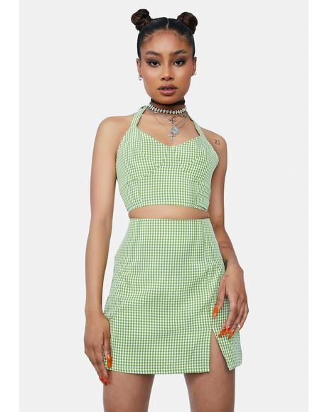 Isle Call Me L8r Gingham Mini Skirt Set