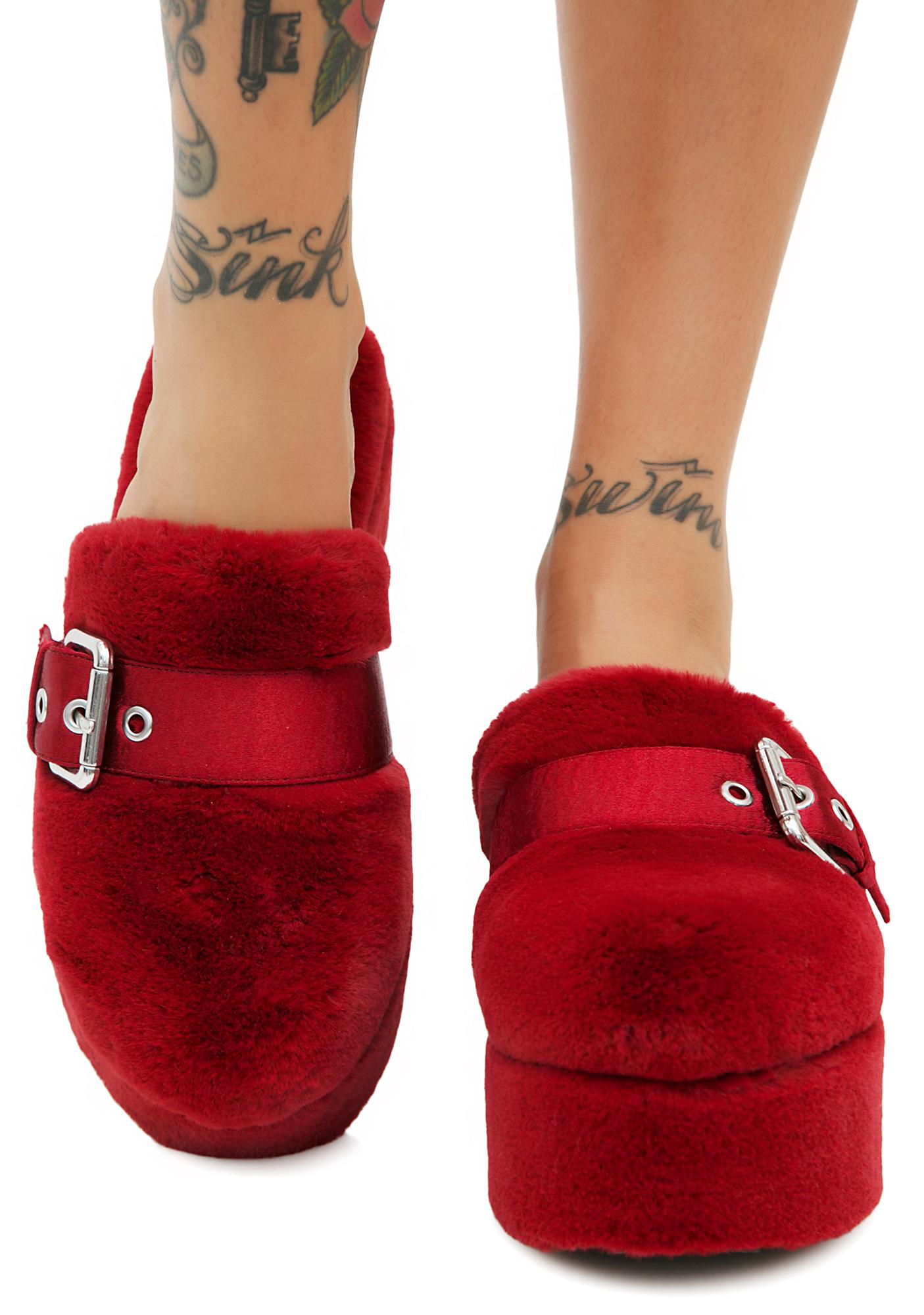 Shellys London Furry Slip-Ons