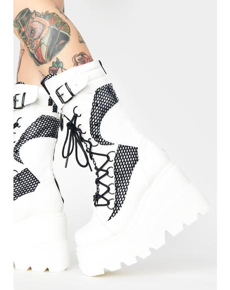 White High Rise Shaker Boots