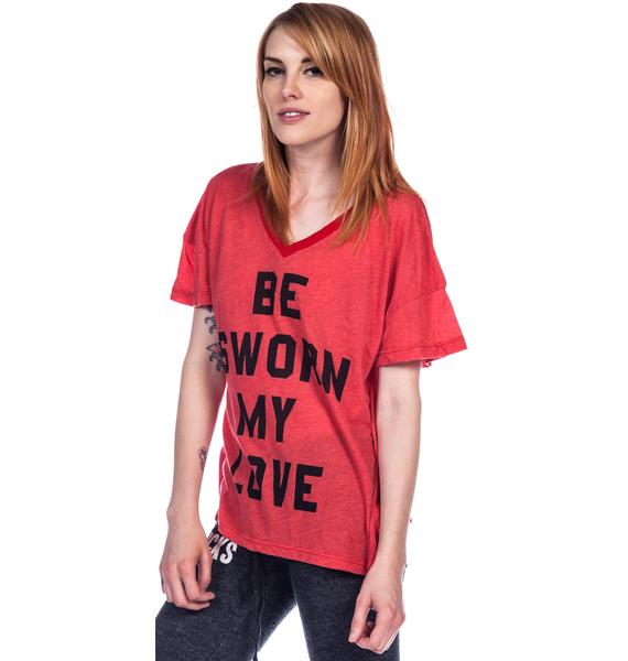 Wildfox Couture Sworn My Love Oversized V-Neck Tee