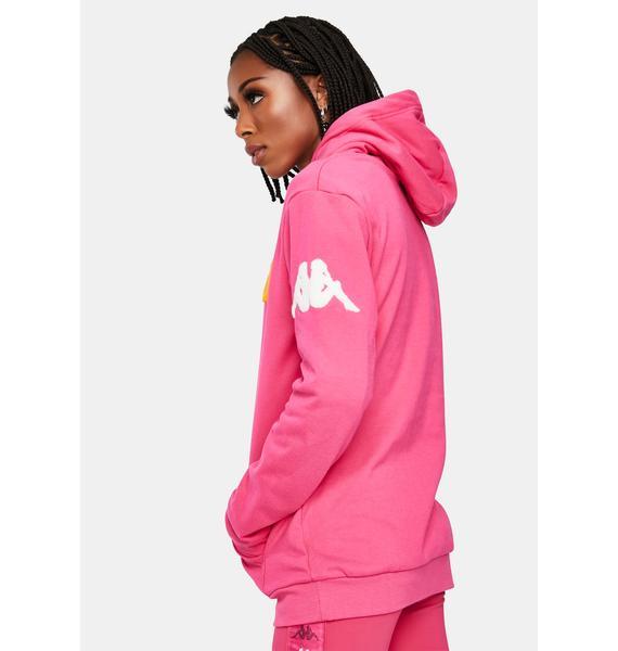 Kappa Pink 222 Banda Bluvi Pullover Graphic Hoodie