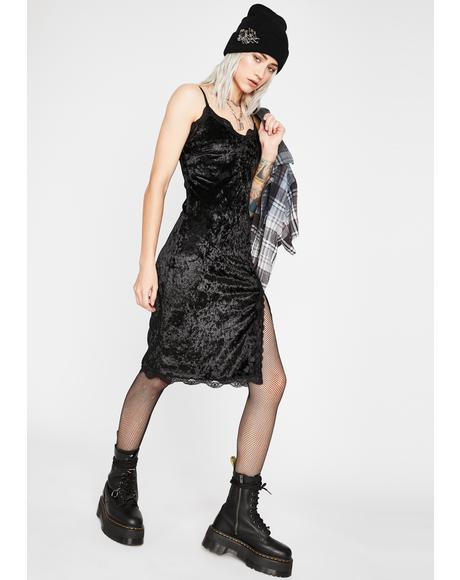 Noir Read Into Me Velvet Dress