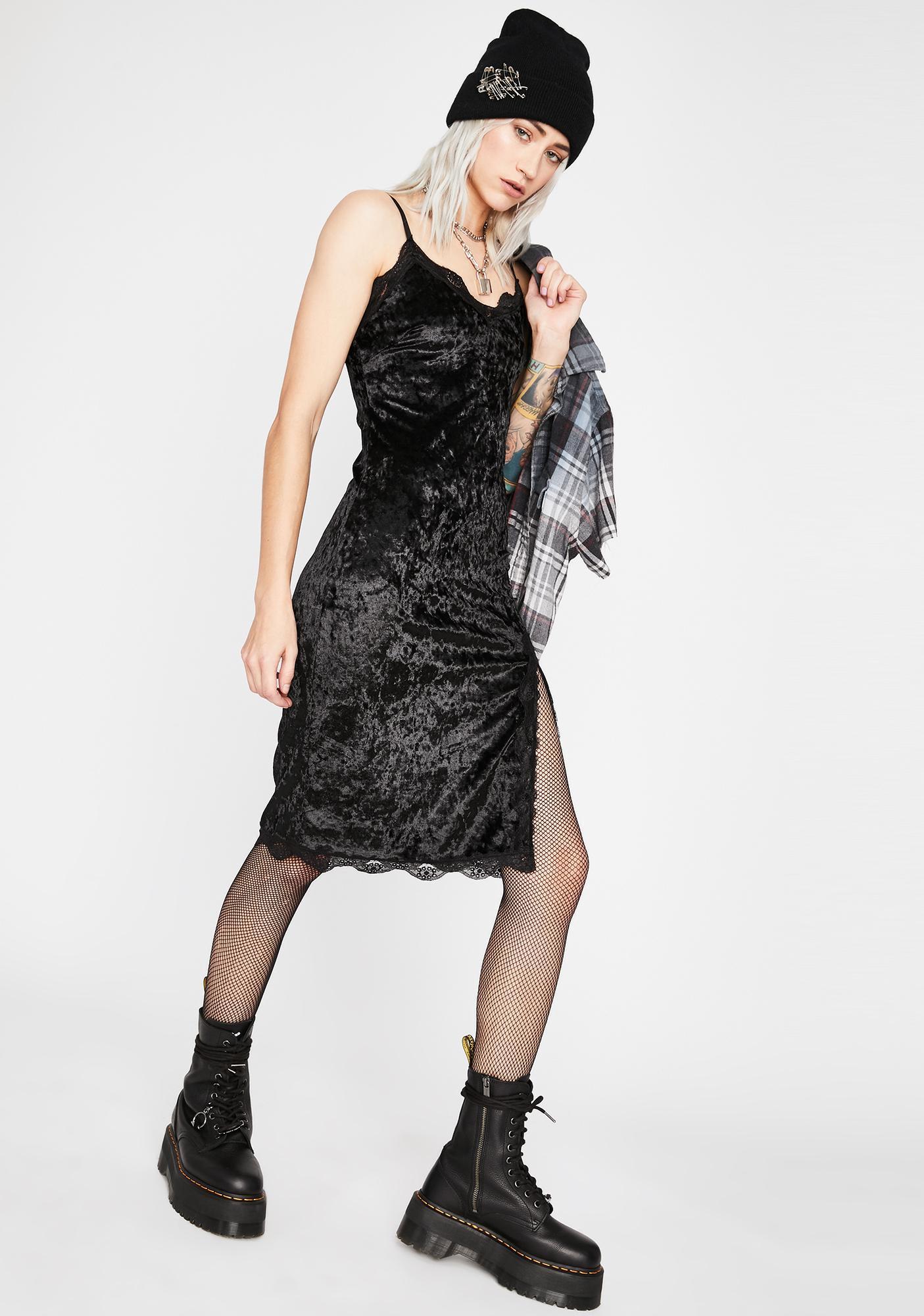 Noir Read Into Me Velvet Dress