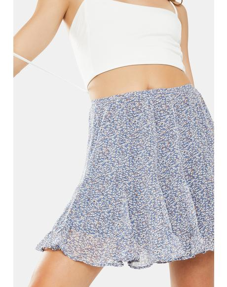 Blue Floral Mini Skirt