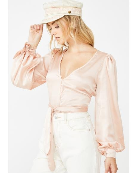 Champagne Kiss Satin Blouse