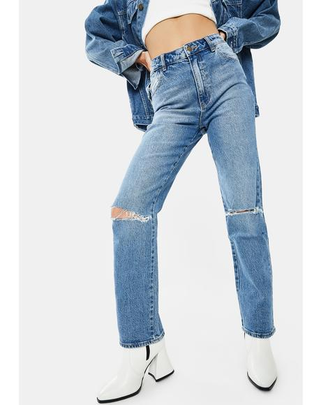Brad Blue Original Straight Ripped Jeans