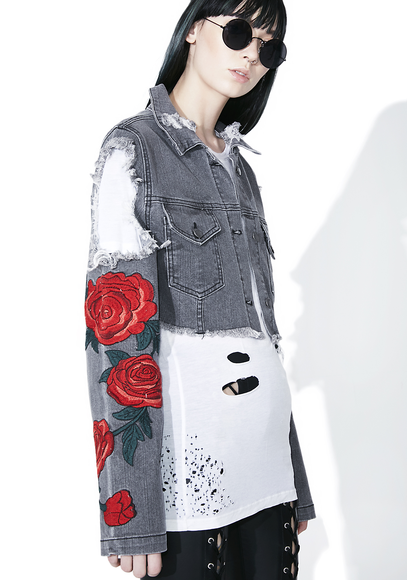Black Distressed Rose Denim Jacket