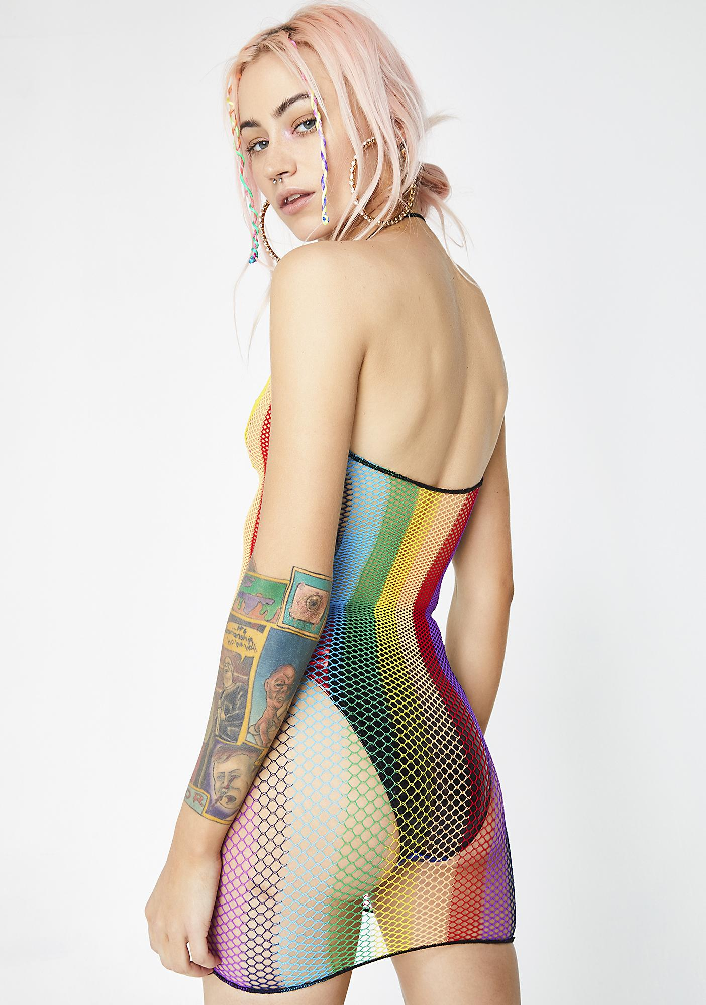 Over The Rainbow Fishnet Dress