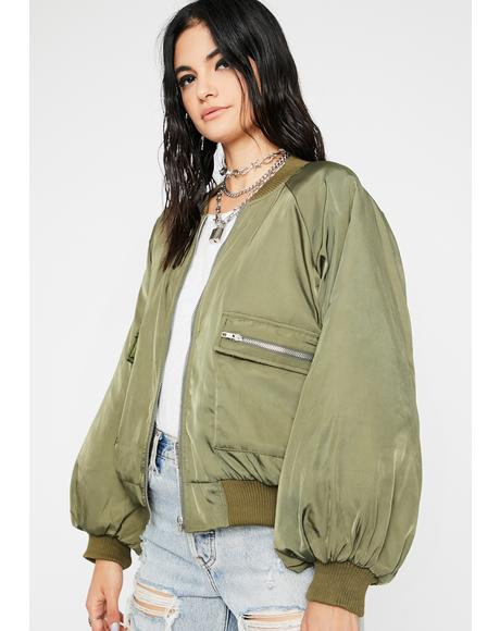 Olive Overdrive Mode Bomber Jacket