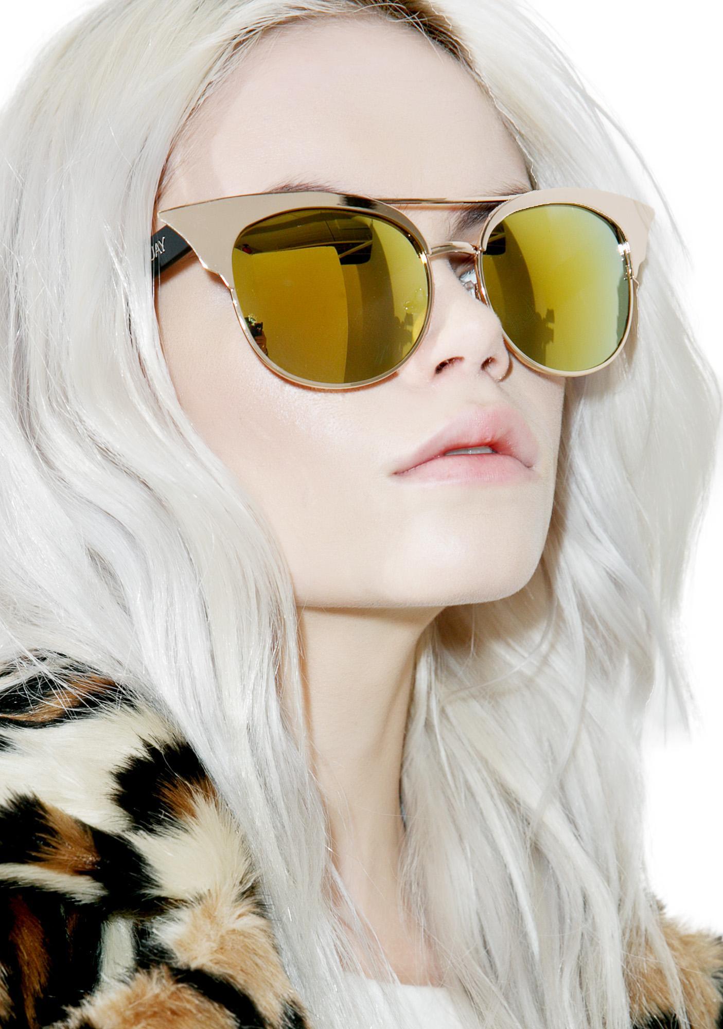 7df736407f Quay Eyeware Gold Zig Sunglasses