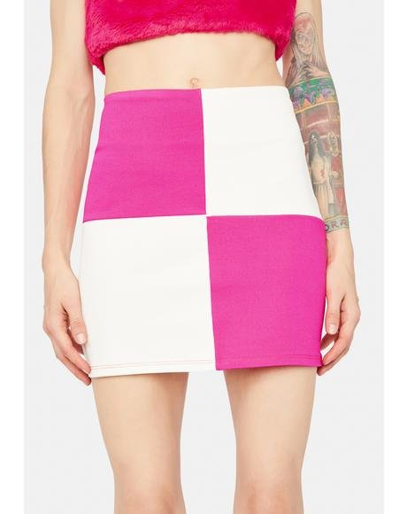 Kiss And Checkmate Bodycon Mini Skirt