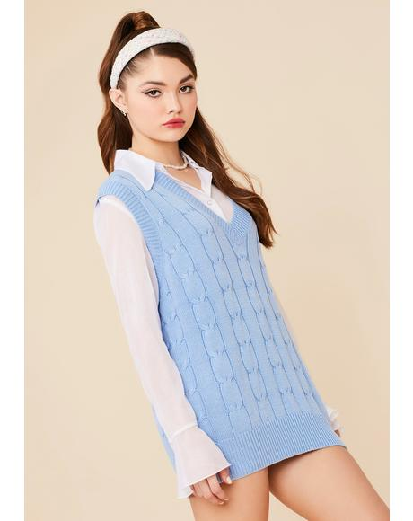 Cornflower Wicked Smart Knit Sweater Vest