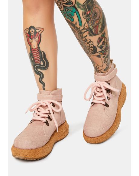 Pink Gaia Platform Hiker Boots