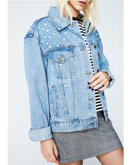Oversized Bf Jacket 90s Blue Daisy Meadow