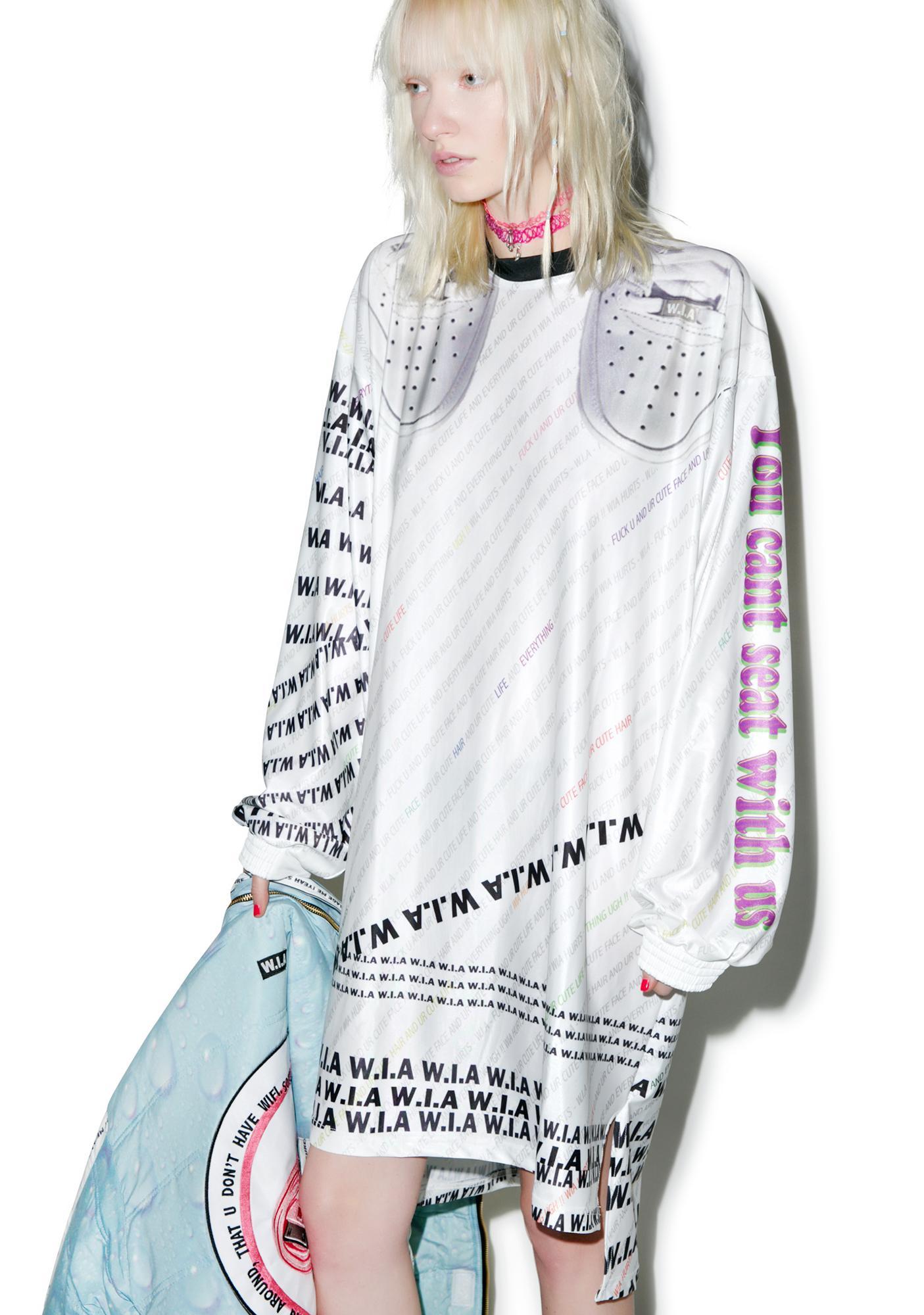 W.I.A White W.I.A Extra Long T-Shirt
