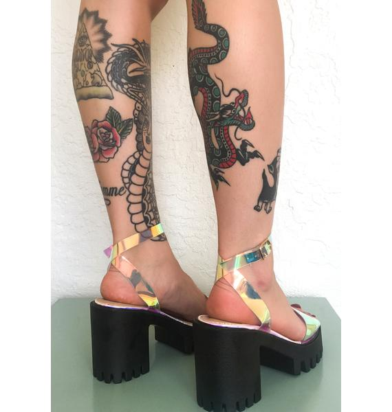 Public Desire Iridescent Nixie Platform Sandals