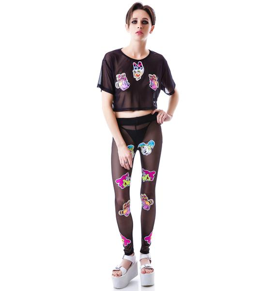 Coveted Society Worped on Acid Patched Mesh Leggings