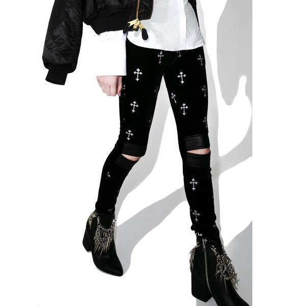 Tripp NYC Metallic Cross Velvet Leggings