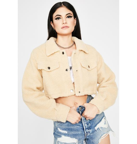 Cream Covered In Clouds Sherpa Jacket