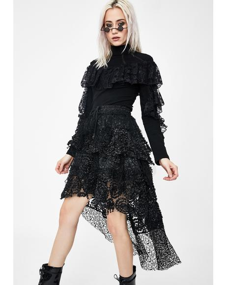 Cocktail Tiered Lace Skirt