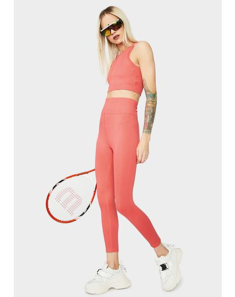 Peach Eyes On The Prize High Waist Leggings