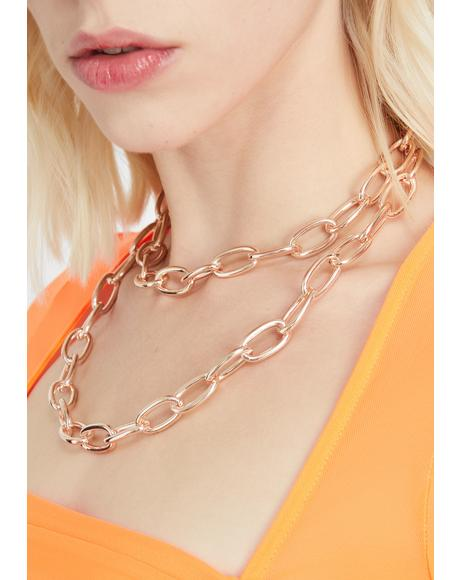 Golden Double Edge Chain Necklace