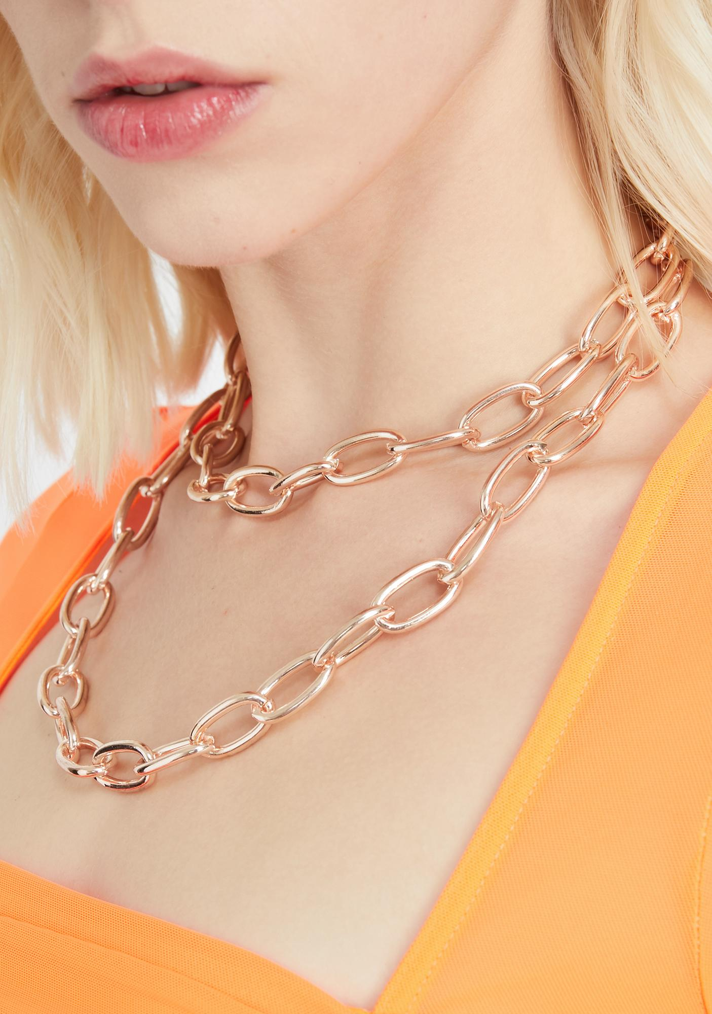 Golden Double Edge Chain Necklace
