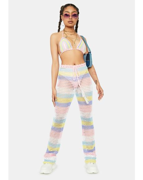 In Betweeners Crochet Striped Pants Set