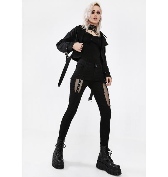 Punk Rave Fishnet Panel Torn Skinny Jeans