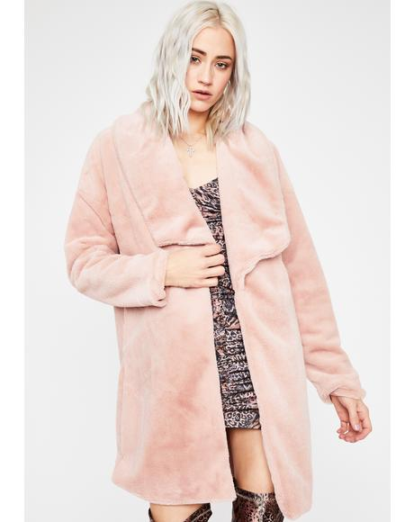 Mauve All Occasions Faux Fur Coat