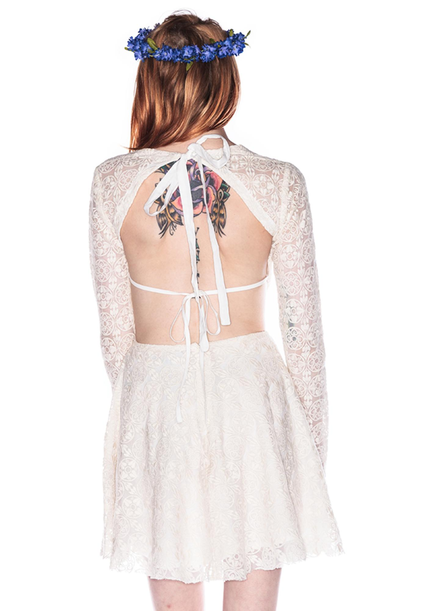 One Teaspoon Twilight Garden Lace Cut Away Dress