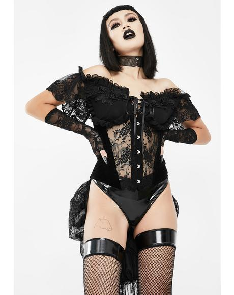 Black Lace Corset With Train