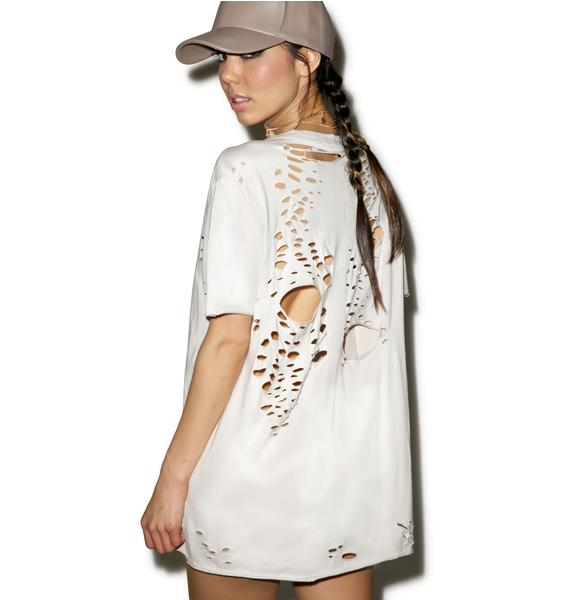 Widow Natural Waves Destroyed V-Neck Tee