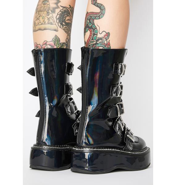 Demonia Dark Heartbreaker Buckle Boots