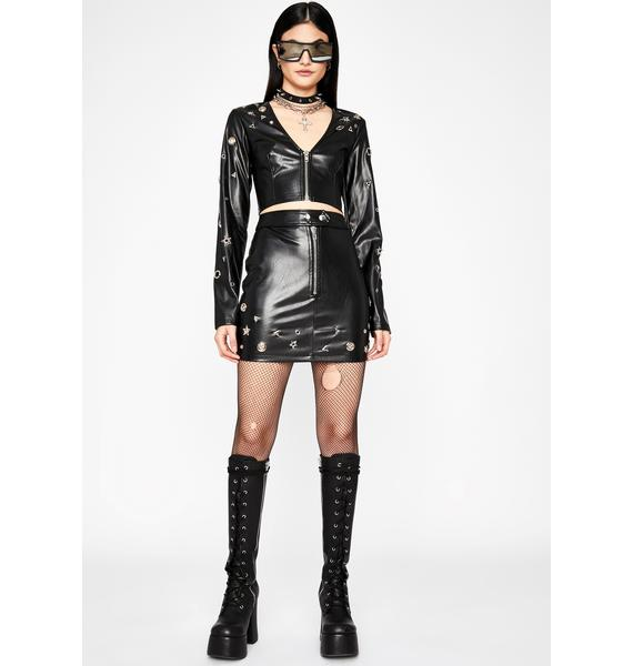 Star Matrix Vegan Leather Top