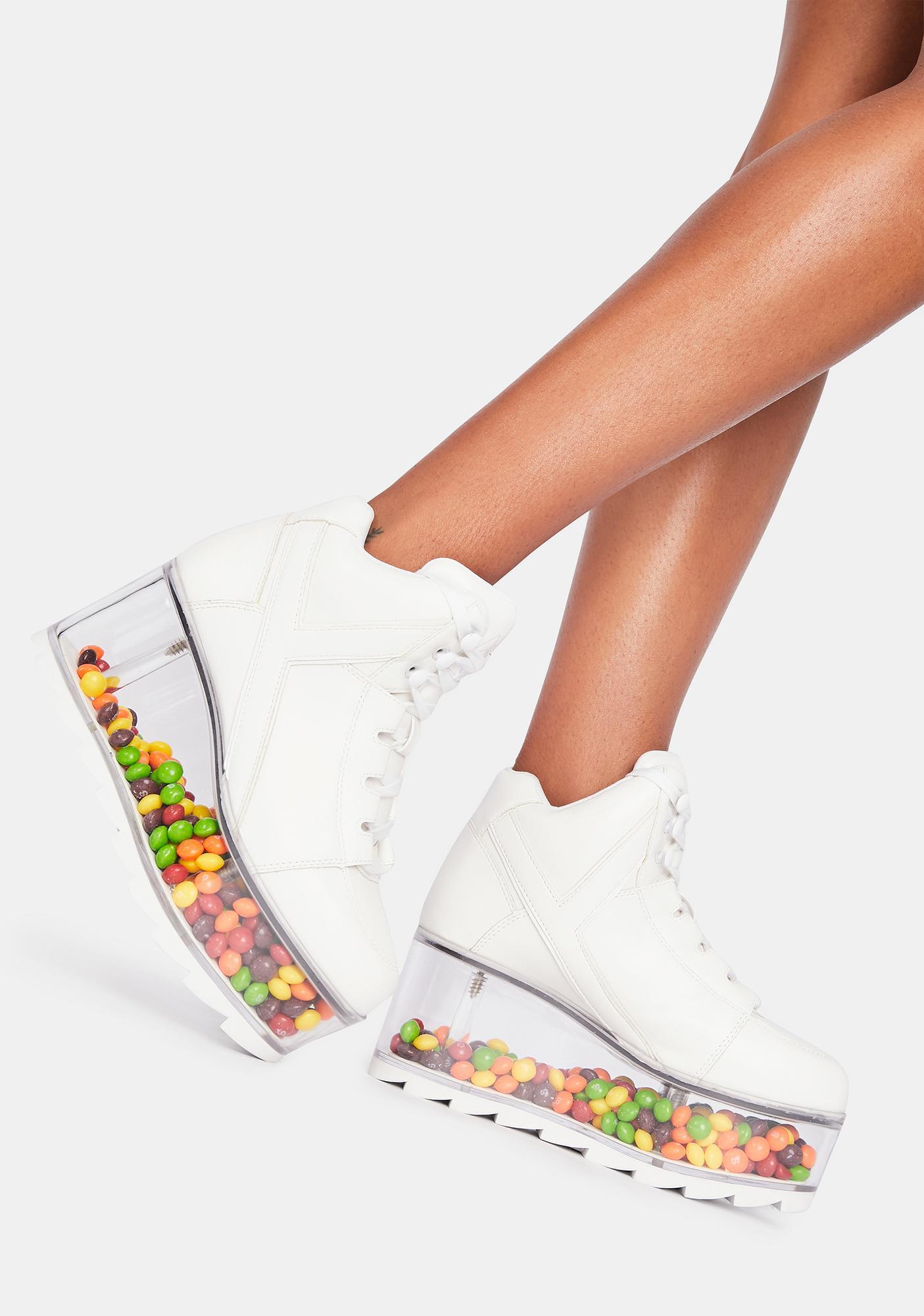 Y.R.U. White Qozmo Qloud Platform Sneakers