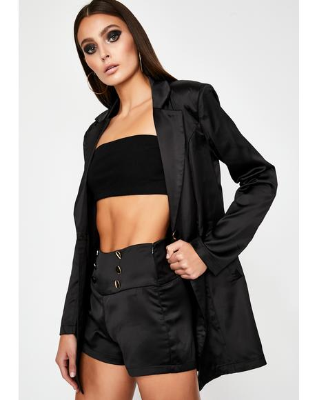 I Mean Business Satin Blazer Set