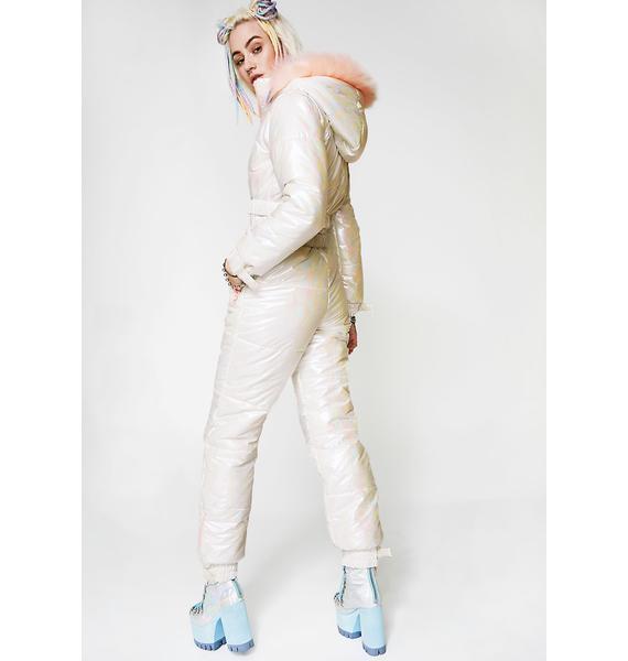 Club Exx Iridescent Snow Queen Puffer One-Piece
