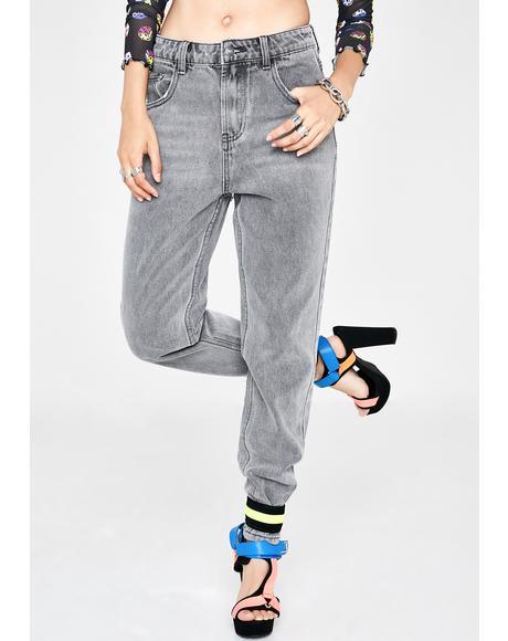 Grey Wash Denim Mom Jeans