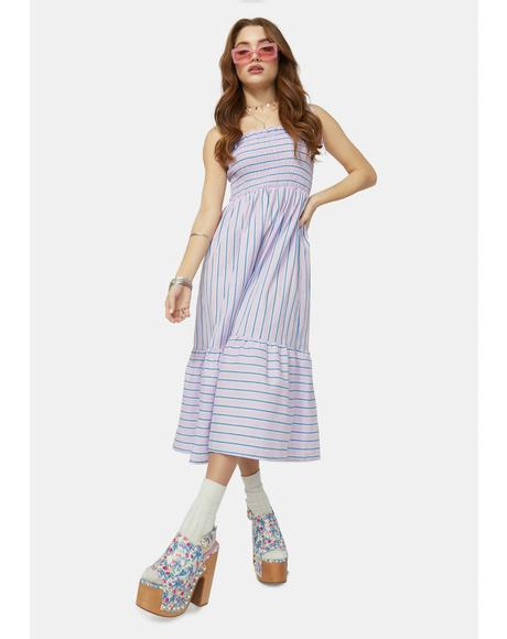 Good Days Striped Midi Dress