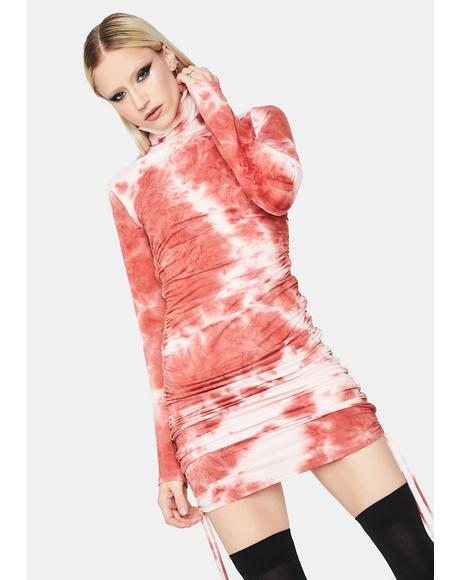 Next Level Vibe Tie Dye Ruched Mini Dress
