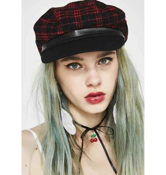 Valfré Red Plaid Toni Page Boy Hat