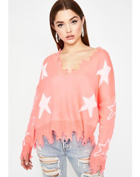 Candy Trip Thru Space Distressed Sweater