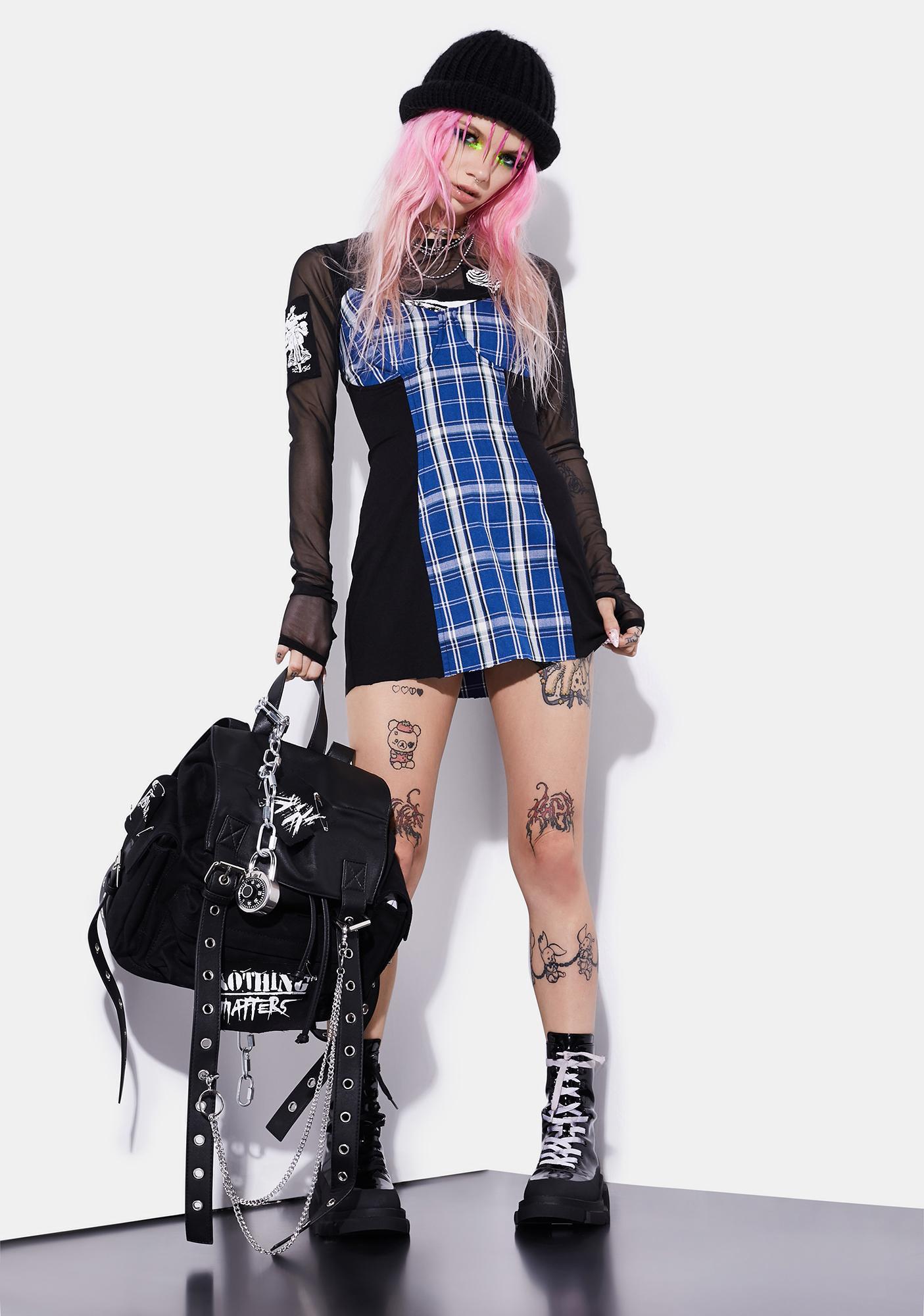 Current Mood Idol Generation Plaid Corset Dress