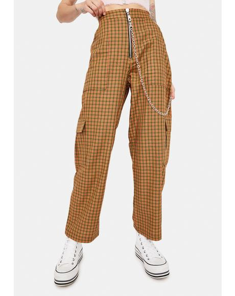 Pattern Plaid Cargo Pants