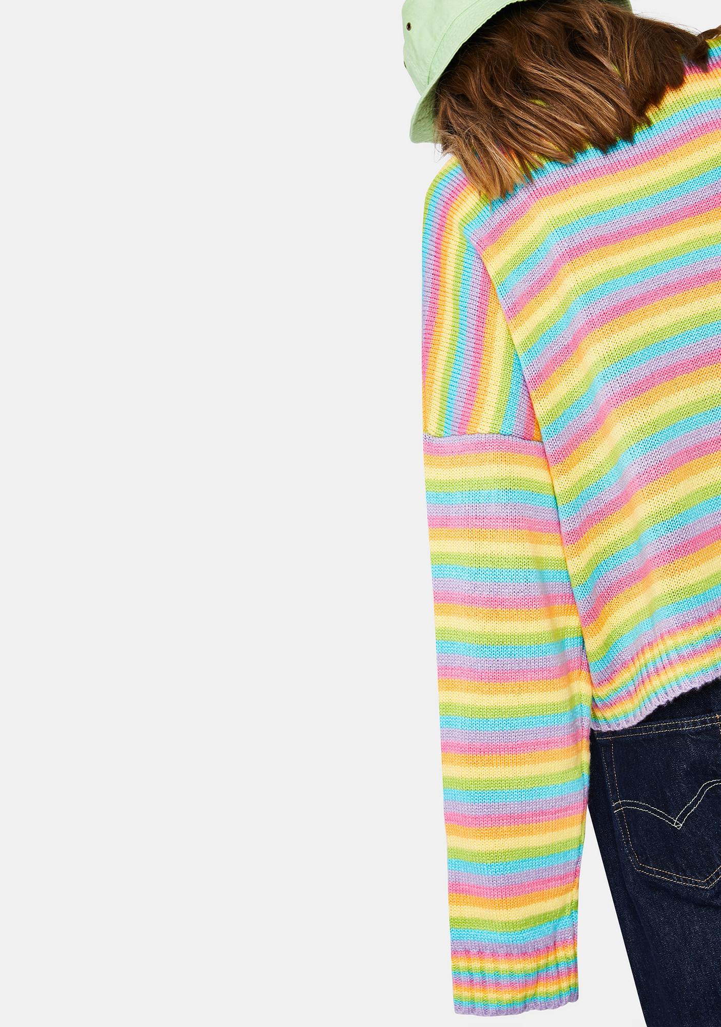 The Ragged Priest Glow Up Rainbow Knit Sweater
