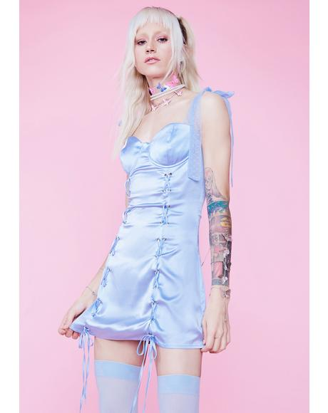 Form Fleeting Satin Lace Up Mini Dress