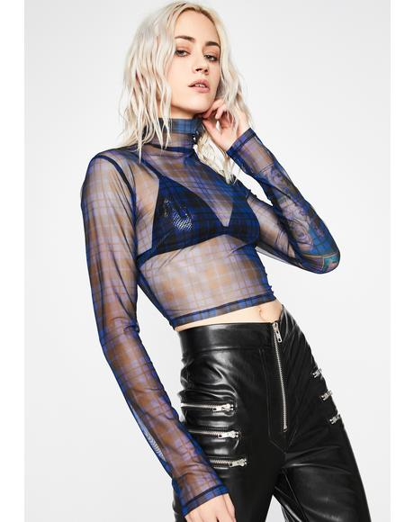Indigo Maybe Never Mesh Top
