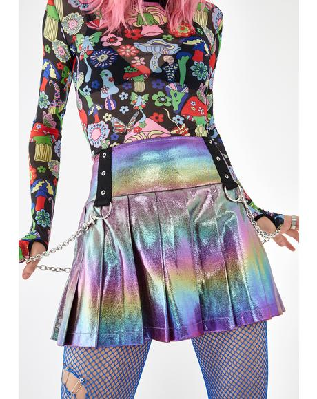 Electric Aura Pleated Skirt